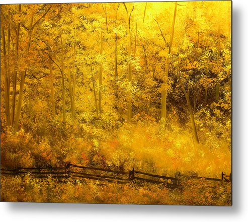 Connie Tom Metal Print featuring the painting Autumn's Hidden Sanctuary IIi by Connie Tom