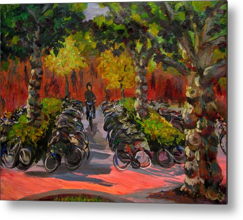 Sweden Metal Print featuring the painting Bike Park by Art Nomad Sandra Hansen