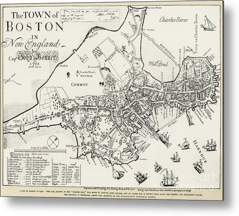 1722 Metal Print featuring the photograph Boston Map, 1722 by Granger
