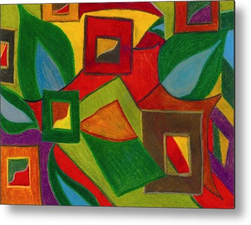 Abstract Metal Print featuring the drawing Boxesleaves1 by Katina Cote