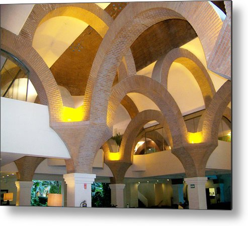 Art Metal Print featuring the pyrography Brick Arches by George Pasini