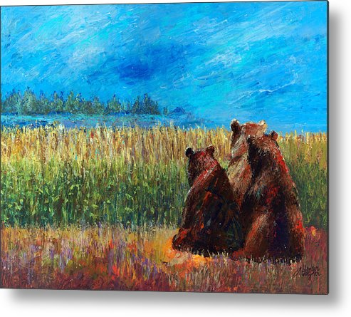 Bear Metal Print featuring the painting Can You See Whats Going On... by Arline Wagner