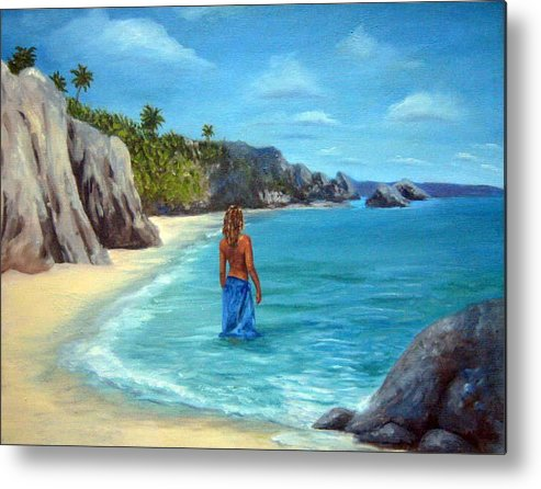 Landscape Metal Print featuring the painting Caribean Dreaming by Anne Kushnick