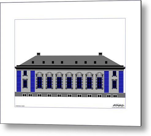 Metal Print featuring the painting Cathedral Square Grey Passepartout by Asbjorn Lonvig