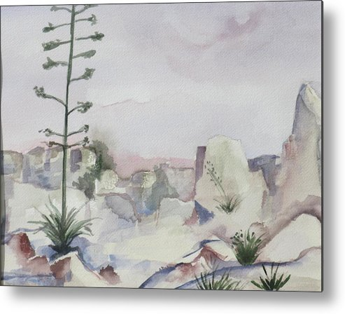 Landscape Metal Print featuring the painting Century Plant by Kathy Mitchell