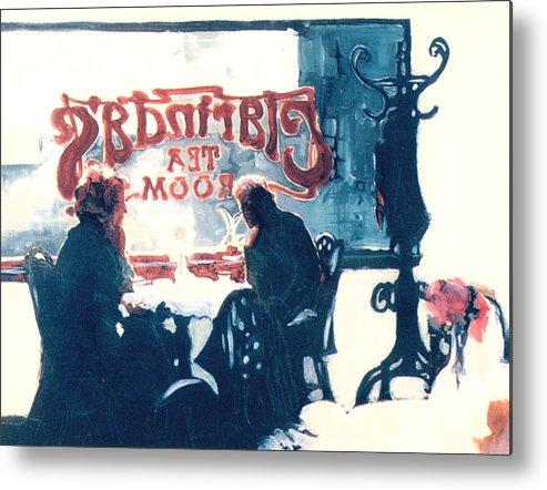 Tea Metal Print featuring the painting Clarinda's Tea Room by Linda Crockett