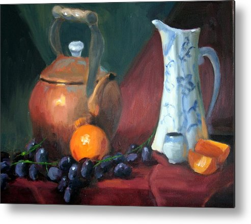 Copper Metal Print featuring the painting Copper And Neiman Vase by Britta Herzog