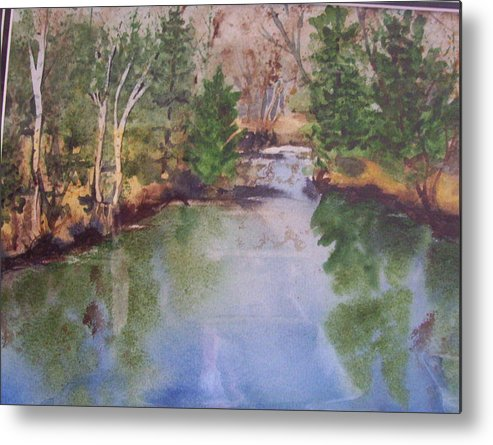 Landscape Metal Print featuring the painting Dan S Pond by Audrey Bunchkowski