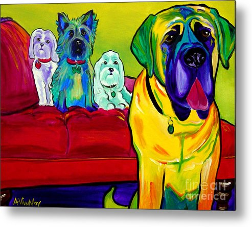 Dog Metal Print featuring the painting Dogs - Droolers Get The Floor by Alicia VanNoy Call