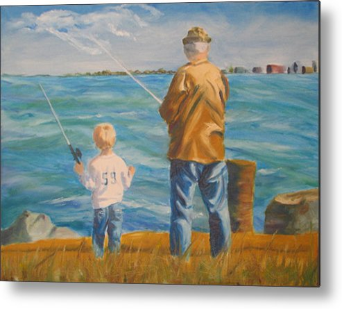 Fishermen Metal Print featuring the painting First Lesson To Life's Passion by Libby Cagle