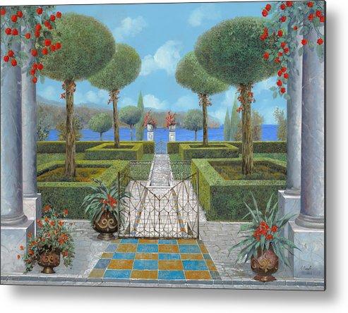 Italian Garden Metal Print featuring the painting Giardino Italiano by Guido Borelli