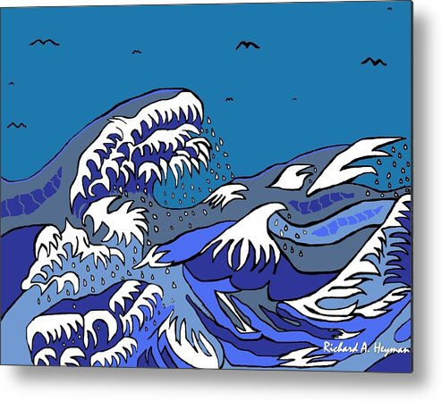 Japan Metal Print featuring the drawing Great Wave 2011 by Richard Heyman