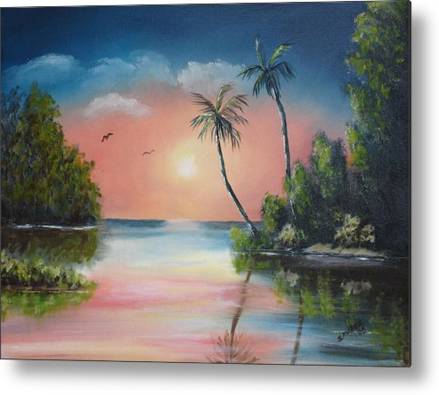 Sunset Metal Print featuring the painting Gulf Coast Sunset by Susan Kubes