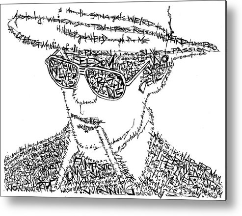 Hunter Thompson Metal Print featuring the drawing Hunter S. Thompson Black And White Word Portrait by Kato Smock