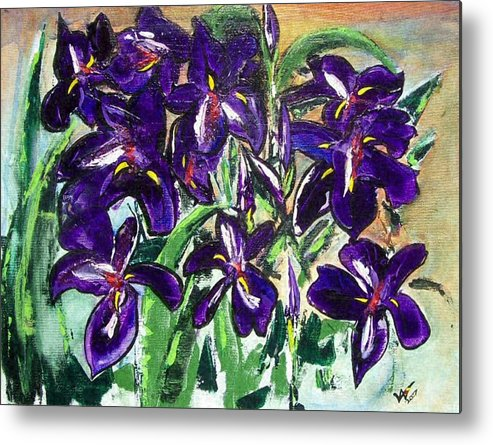 Iris Metal Print featuring the painting Iris by Valerie Wolf
