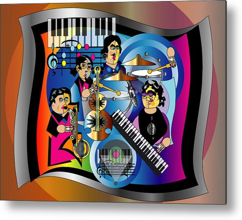 Jazz Metal Print featuring the digital art Jazz Combo by George Pasini