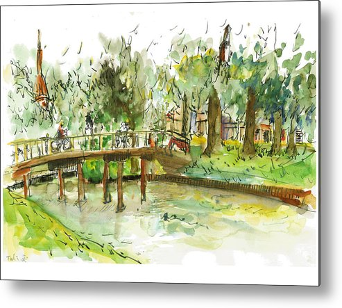 Zwolle Metal Print featuring the painting Kerekbrugje by Tali Farchi
