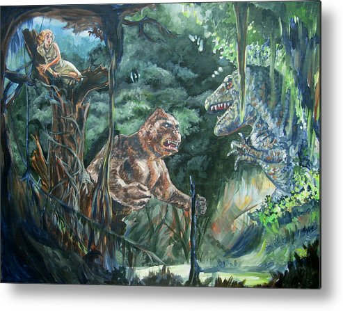 King Kong Metal Print featuring the painting King Kong Vs T-rex by Bryan Bustard