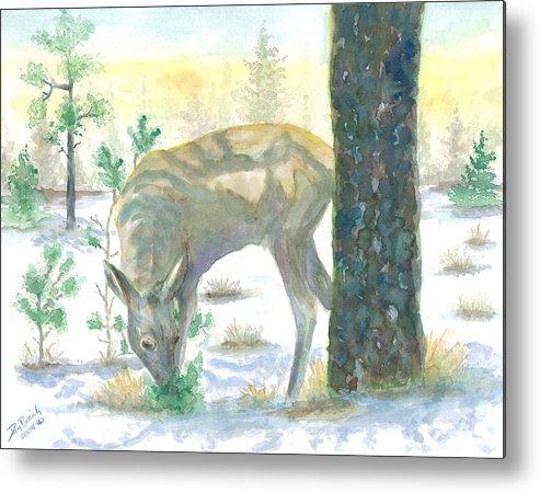 Deer Metal Print featuring the painting Last Greens by Dan Bozich