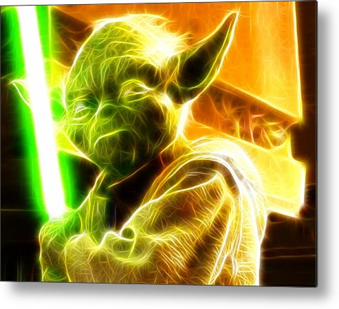 Yoda Metal Print featuring the painting Magical Yoda by Paul Van Scott