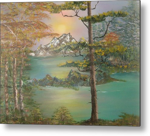 Landscape Metal Print featuring the painting Majestic Cove by Mikki Alhart