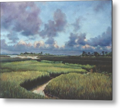 Water Metal Print featuring the painting Marsh Dawn by Marion Hylton