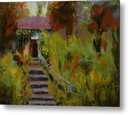 Landscape (framed) Metal Print featuring the painting Monet's Garden Cottage by Colleen Murphy