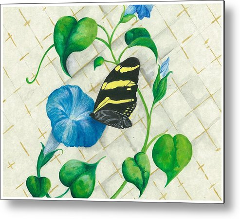 Morning Glories Metal Print featuring the painting Morning Glories And Butterfly by Sally Balfany