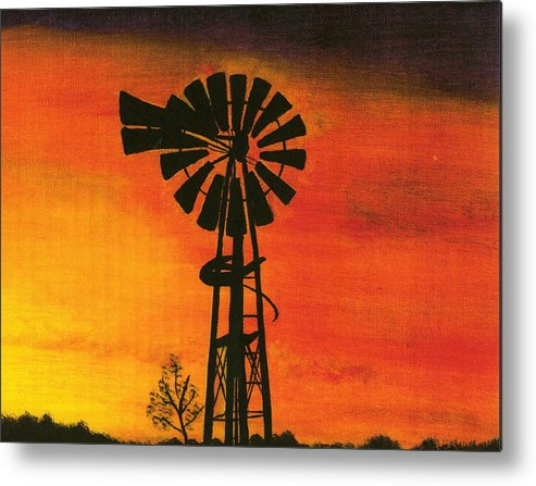 Windmill Desert Sunset Metal Print featuring the painting New Mexico Sunset by Terri Warner
