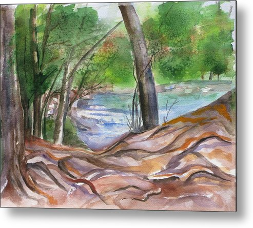 Landscape With Trees Metal Print featuring the painting Oak Creek In Sedona by Kathy Mitchell