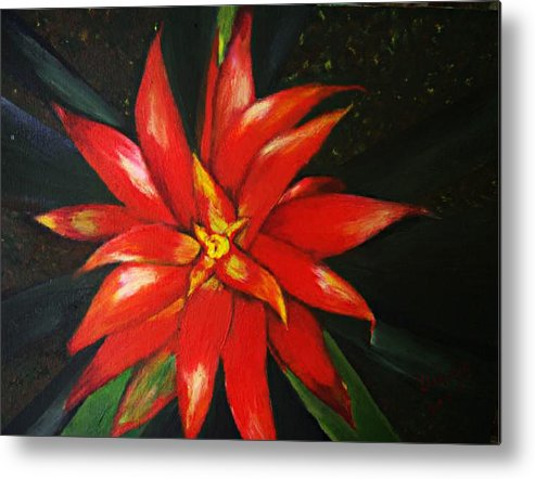 Floral Metal Print featuring the painting Orange Blossom by Julie Lamons
