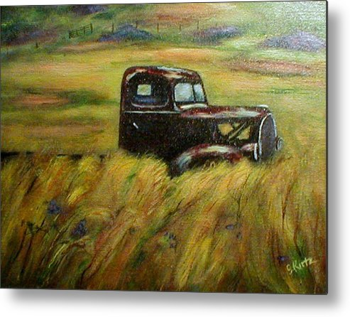 Vintage Truck Metal Print featuring the painting Out To Pasture by Gail Kirtz