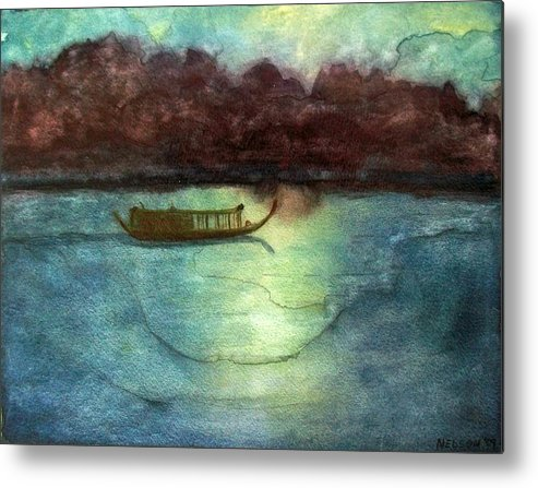 Perfume Metal Print featuring the painting Perfume River By Moonlight by William Nelson