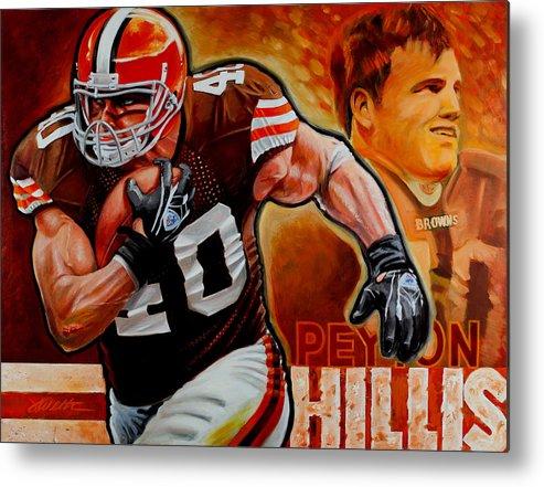 Football Metal Print featuring the painting Peyton Hillis by Jim Wetherington