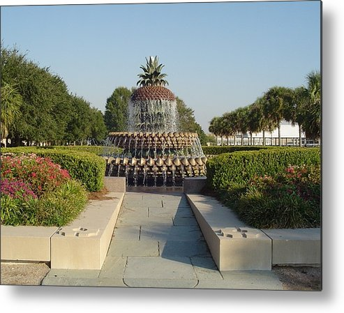 Charleston Metal Print featuring the photograph Pineapple Fountain by Richard Marcus