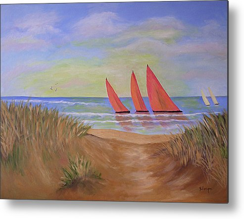 Sails Metal Print featuring the painting Red Sails by Barbara Harper
