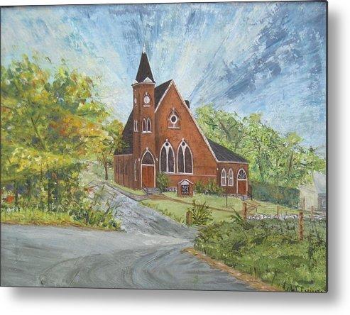 Church Metal Print featuring the painting Riverton Church by Judith Espinoza