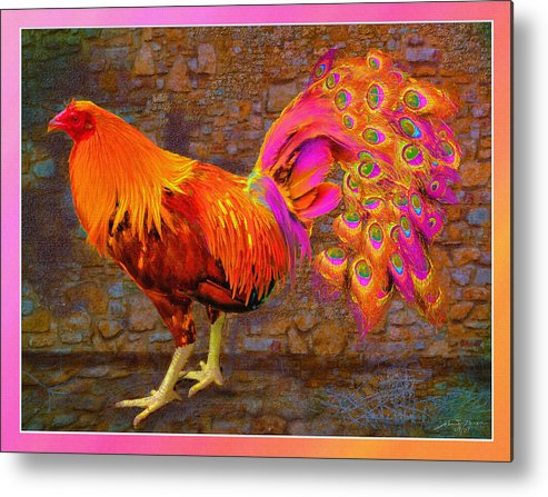 Cross Breed Between A Rooster And A Peacock Metal Print featuring the painting Rooster Peacock by John Breen