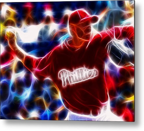 Royhalladay Metal Print featuring the digital art Roy Halladay Magic Baseball by Paul Van Scott
