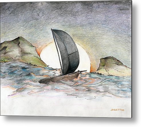 Sail Away Metal Print featuring the drawing Sail Away by Justin Hiatt