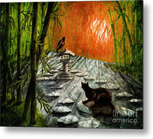 Black Metal Print featuring the digital art Shinto Lantern At Dusk by Laura Iverson