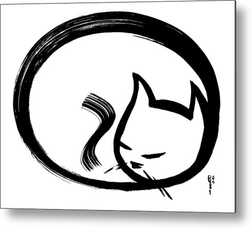 Cats Animals Ink Sumi Calligraphy Japanese Chinese Oriental Metal Print featuring the painting Sleeping Cat by Poul Costinsky