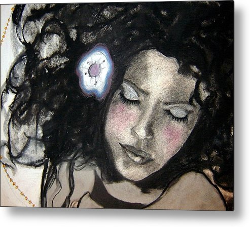Figure Metal Print featuring the drawing Snow Angel - Close Up by Chrissa Arazny- Nordquist