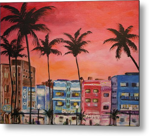 Miami Metal Print featuring the painting South Beach by Dyanne Parker