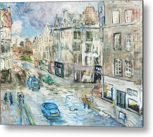 City View Street Edinburgh Scotland Cars People Traffic Pavement Sky Shops Windows Clouds Roofs Metal Print featuring the painting St. Mary's Street by Joan De Bot
