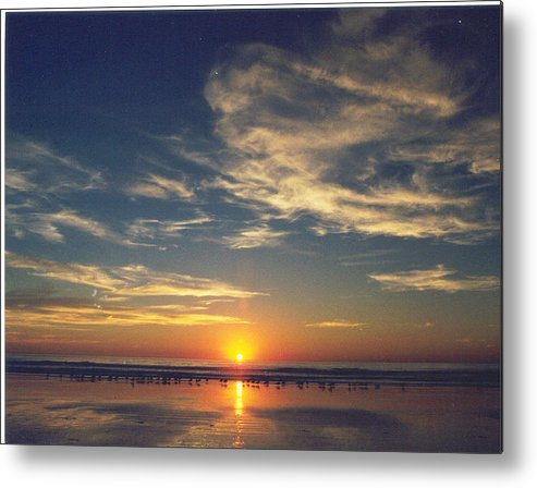 Sunset Metal Print featuring the photograph Sunset At Moonlight Beach by PJ Cloud