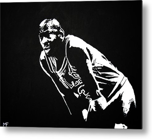 Michael Jordan Metal Print featuring the painting Taking A Breather by Matthew Formeller