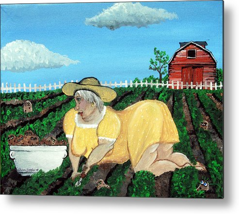 Granny Metal Print featuring the painting Taters Have Eyes by Sharon Supplee