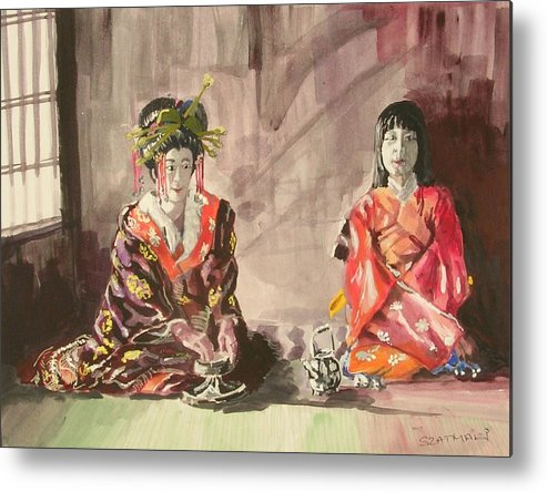 People Metal Print featuring the painting Tea Ceremony by Janos Szatmari