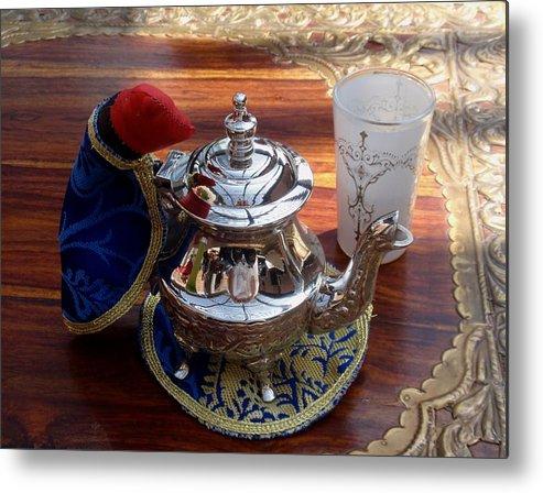 Tea Pot Metal Print featuring the photograph Tea Time by Valia Bradshaw